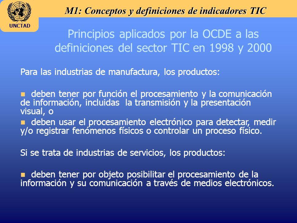 M1: Conceptos y definiciones de indicadores TIC UNCTAD Principios aplicados por la OCDE a las definiciones del sector TIC en 1998 y 2000 Para las indu