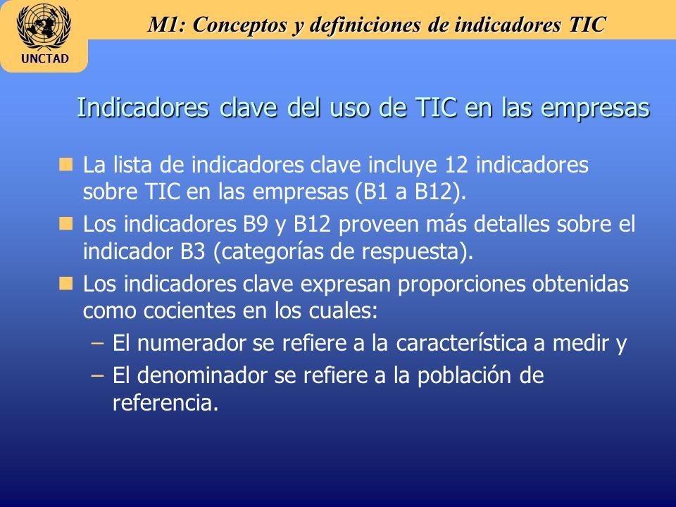 M1: Conceptos y definiciones de indicadores TIC UNCTAD Indicadores clave del uso de TIC en las empresas nLa lista de indicadores clave incluye 12 indi