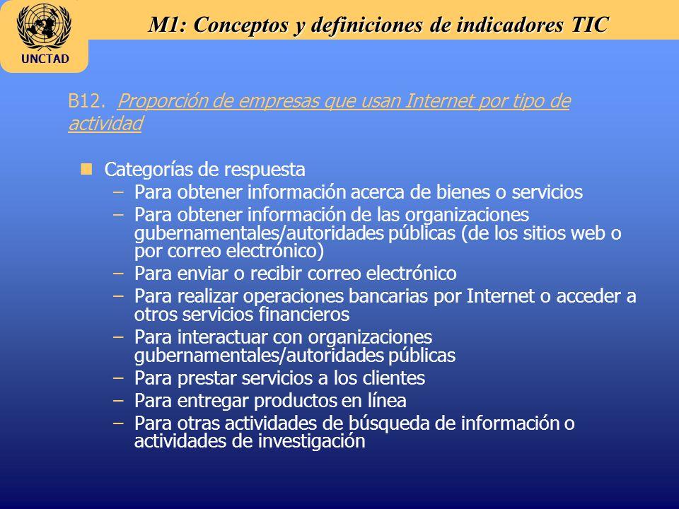 M1: Conceptos y definiciones de indicadores TIC UNCTAD B12. Proporción de empresas que usan Internet por tipo de actividad nCategorías de respuesta –P