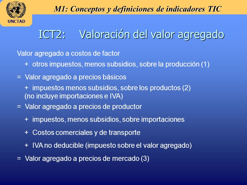 M1: Conceptos y definiciones de indicadores TIC UNCTAD ICT2: Valoración del valor agregado Valor agregado a costos de factor + otros impuestos, menos subsidios, sobre la producción (1) = Valor agregado a precios básicos + impuestos menos subsidios, sobre los productos (2) (no incluye importaciones e IVA) = Valor agregado a precios de productor + impuestos, menos subsidios, sobre importaciones + Costos comerciales y de transporte + IVA no deducible (impuesto sobre el valor agregado) = Valor agregado a precios de mercado (3)