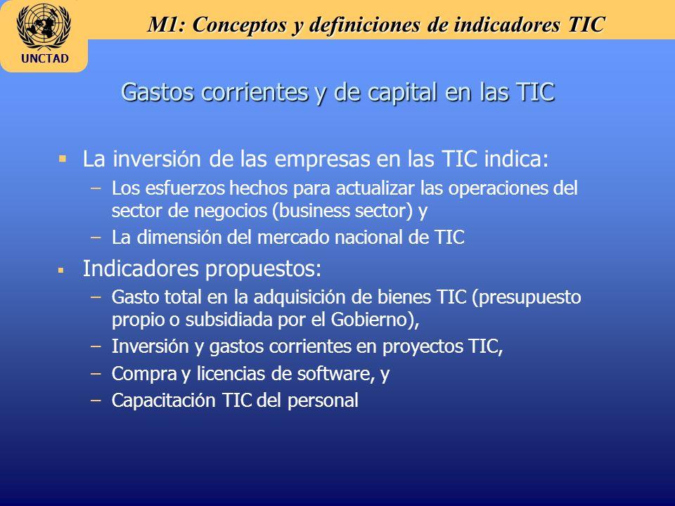 M1: Conceptos y definiciones de indicadores TIC UNCTAD Gastos corrientes y de capital en las TIC La inversi ó n de las empresas en las TIC indica: –Lo