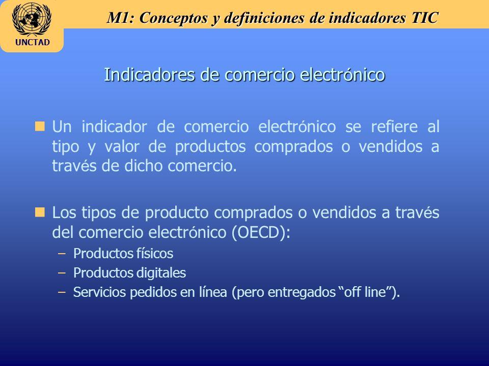 M1: Conceptos y definiciones de indicadores TIC UNCTAD Indicadores de comercio electr ó nico n Un indicador de comercio electr ó nico se refiere al tipo y valor de productos comprados o vendidos a trav é s de dicho comercio.