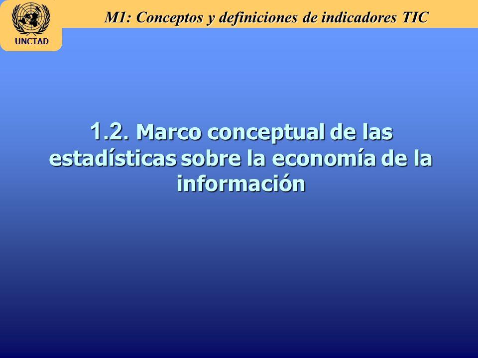 M1: Conceptos y definiciones de indicadores TIC UNCTAD 1.2. Marco conceptual de las estadísticas sobre la economía de la información