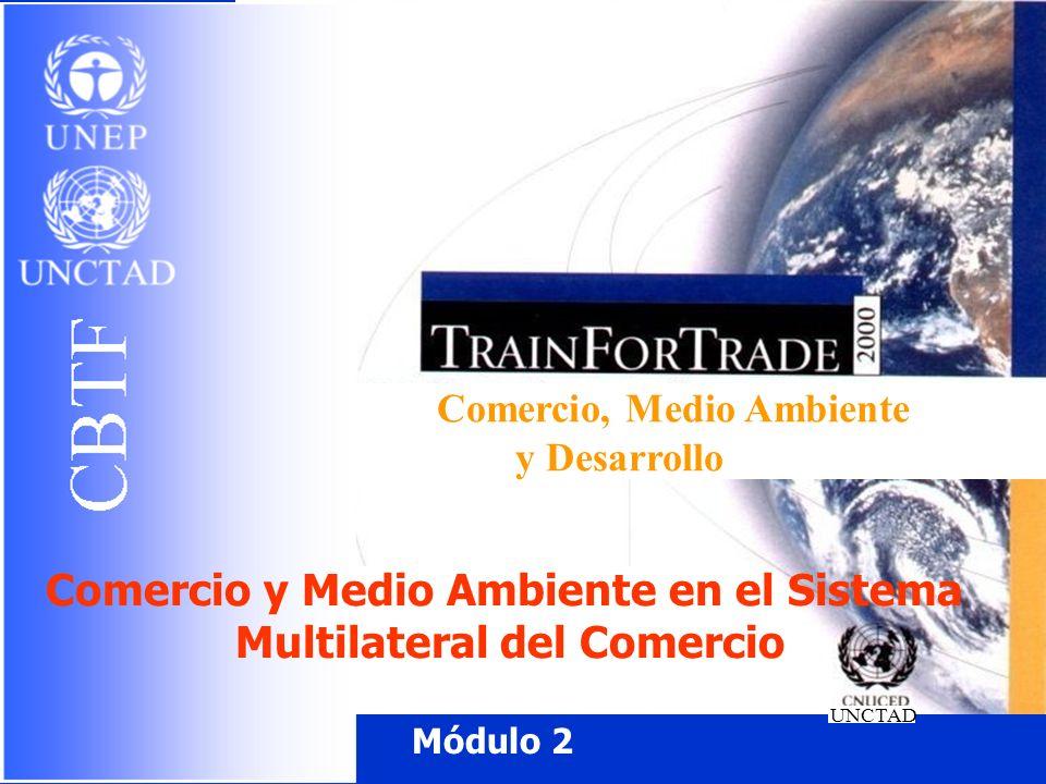 Un número de disposiciones del GATT/OMC vienen directamente al caso con temas ambientales relacionadas con el comercio Una de los cuestiones de particular pertinencia para los países en desarrollo es examinar como los derechos y obligaciones de los Miembros en el marco de los Acuerdos vigentes de la OMC les permite respaldar y actuar para la promoción del desarrollo sostenible a la vez que protegen sus intereses comerciales de las medidas ambientales y que salvaguardar un sistema multilateral de comercio abierto y no discriminatorio.
