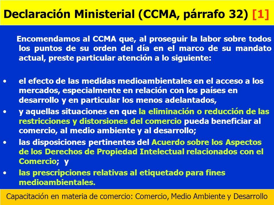 Encomendamos al CCMA que, al proseguir la labor sobre todos los puntos de su orden del día en el marco de su mandato actual, preste particular atenció