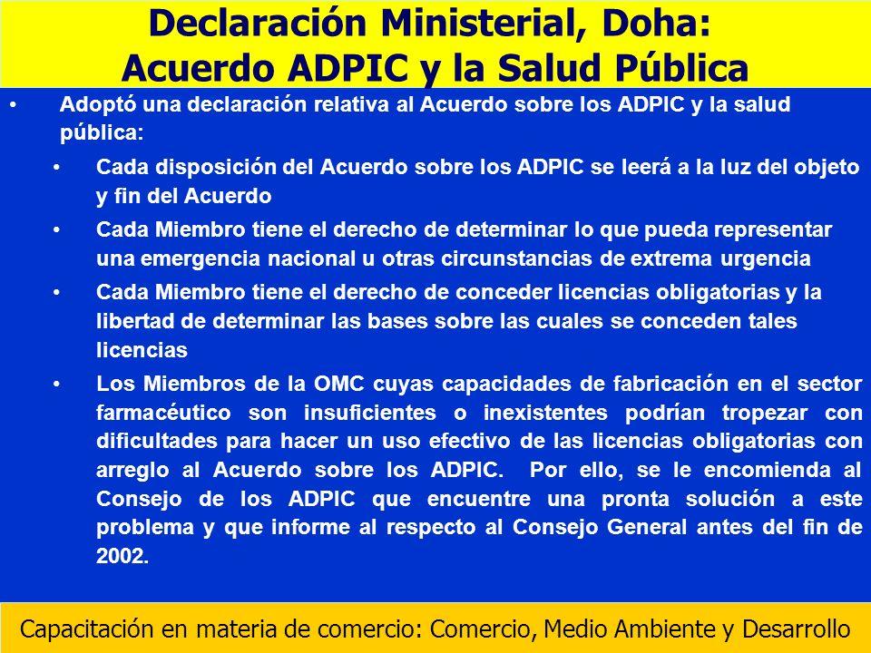 Adoptó una declaración relativa al Acuerdo sobre los ADPIC y la salud pública: Cada disposición del Acuerdo sobre los ADPIC se leerá a la luz del obje