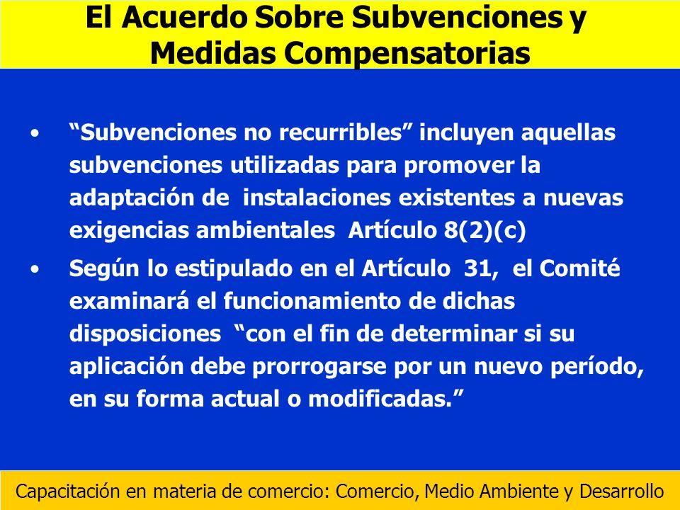 Subvenciones no recurribles incluyen aquellas subvenciones utilizadas para promover la adaptación de instalaciones existentes a nuevas exigencias ambi