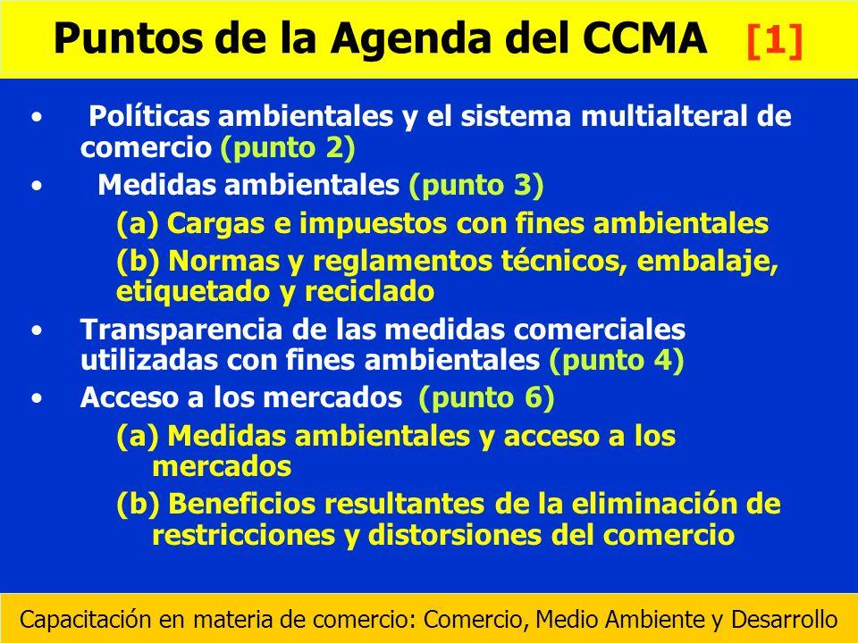 Políticas ambientales y el sistema multialteral de comercio (punto 2) Medidas ambientales (punto 3) (a) Cargas e impuestos con fines ambientales (b) N