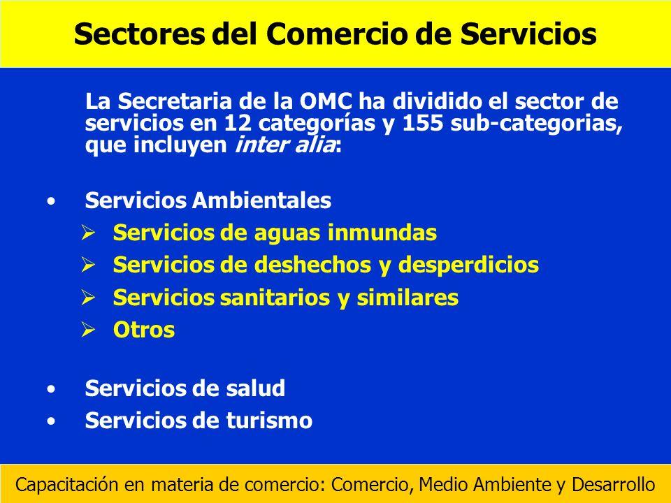 La Secretaria de la OMC ha dividido el sector de servicios en 12 categorías y 155 sub-categorias, que incluyen inter alia: Servicios Ambientales Servi