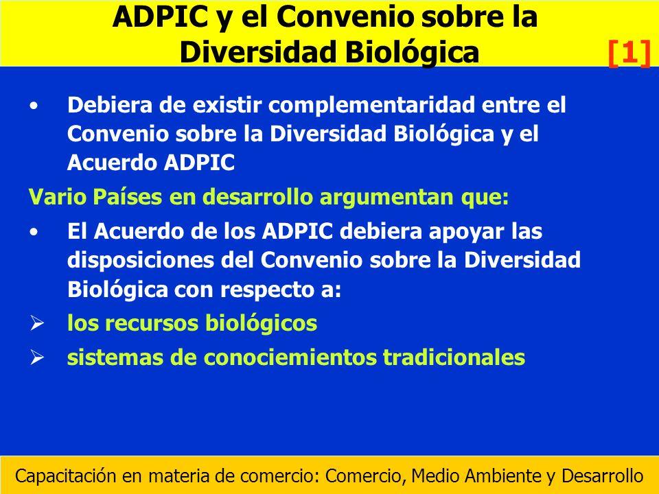 Debiera de existir complementaridad entre el Convenio sobre la Diversidad Biológica y el Acuerdo ADPIC Vario Países en desarrollo argumentan que: El A