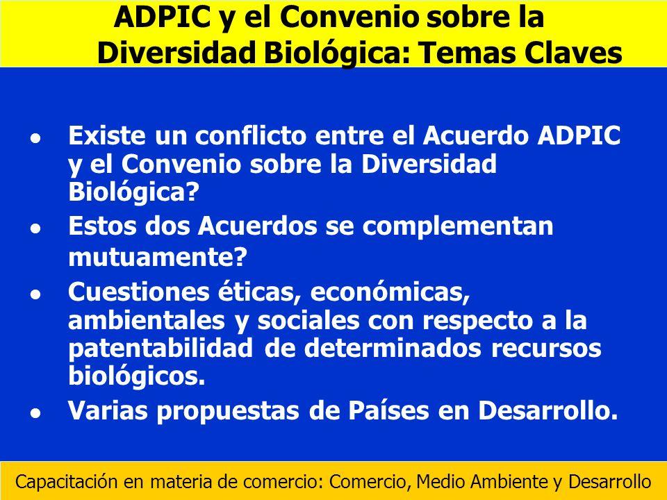 l l Existe un conflicto entre el Acuerdo ADPIC y el Convenio sobre la Diversidad Biológica? l l Estos dos Acuerdos se complementan mutuamente? l l Cue