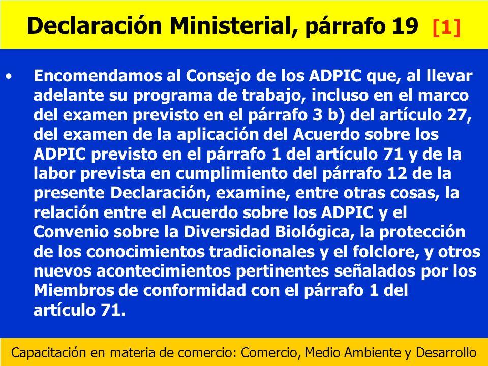 Encomendamos al Consejo de los ADPIC que, al llevar adelante su programa de trabajo, incluso en el marco del examen previsto en el párrafo 3 b) del ar