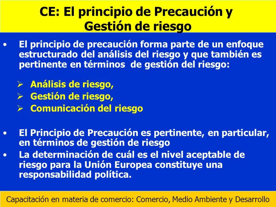 El principio de precaución forma parte de un enfoque estructurado del análisis del riesgo y que también es pertinente en términos de gestión del riesg