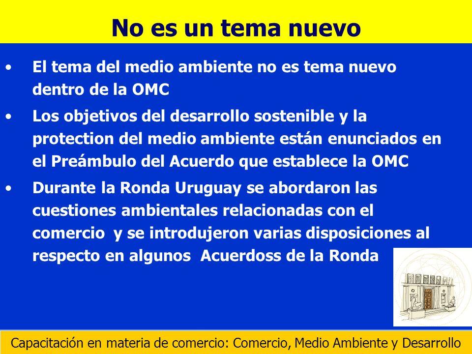 Durante la Ronda Uruguay de Negociaciones Comerciales Multilaterales, se introdujeron disposiciones referentes al medio ambiente en los siguientes Acuerdos: Agricultura Obstáculos Técnicos al Comercio Aplicación de Medidas Sanitarias y Fitosanitarias Aspectos de los Derechos de Propiedad Intelectual relacionadas con el Comercio Subvencionexs y Medidas Compensatorias Servicios Capacitación en materia de comercio: Comercio, Medio Ambiente y Desarrollo Los Acuerdos de la Ronda Uruguay
