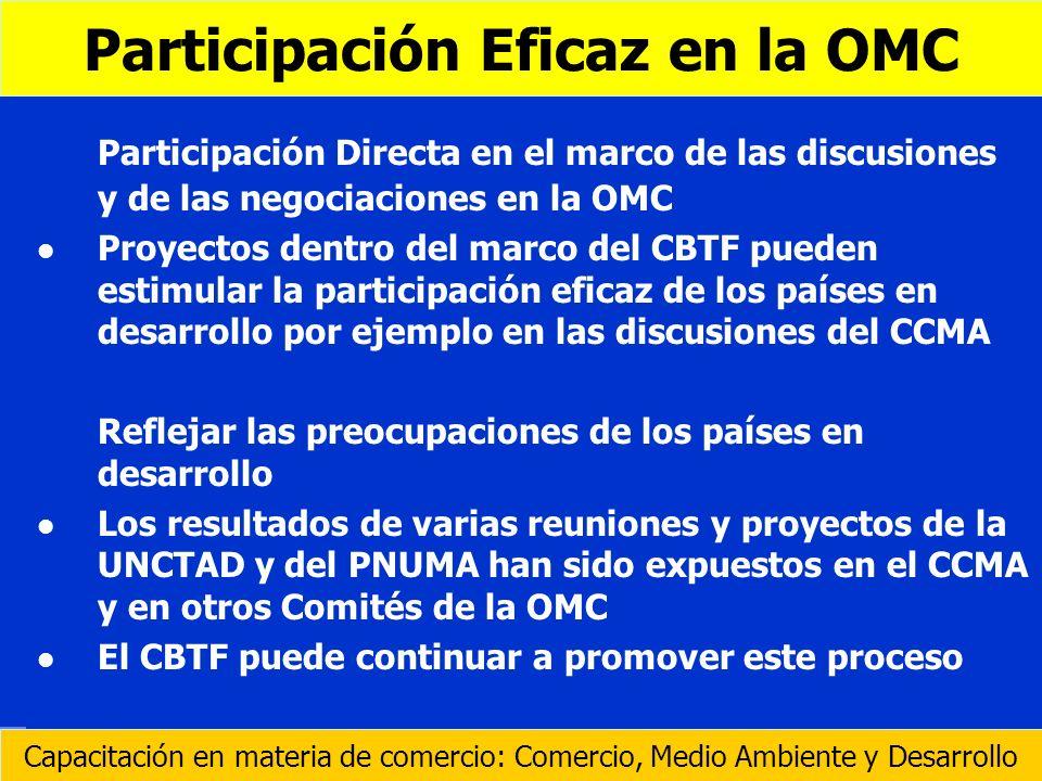 Participación Directa en el marco de las discusiones y de las negociaciones en la OMC l l Proyectos dentro del marco del CBTF pueden estimular la part