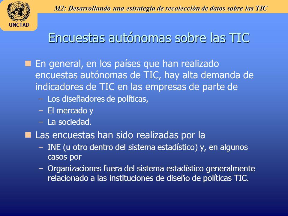 M2: Desarrollando una estrategia de recolección de datos sobre las TIC UNCTAD Encuestas autónomas sobre las TIC n nEn general, en los países que han r