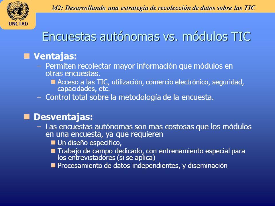 M2: Desarrollando una estrategia de recolección de datos sobre las TIC UNCTAD Encuestas autónomas vs. módulos TIC n nVentajas: – –Permiten recolectar