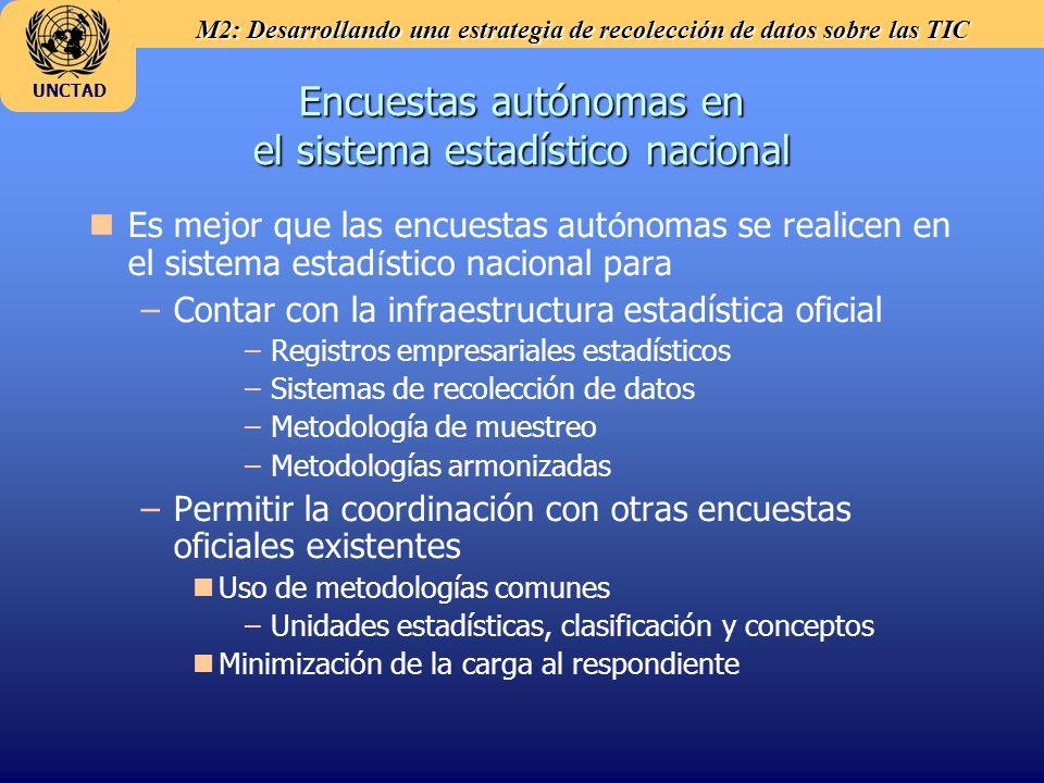 M2: Desarrollando una estrategia de recolección de datos sobre las TIC UNCTAD Encuestas autónomas en el sistema estadístico nacional Es mejor que las