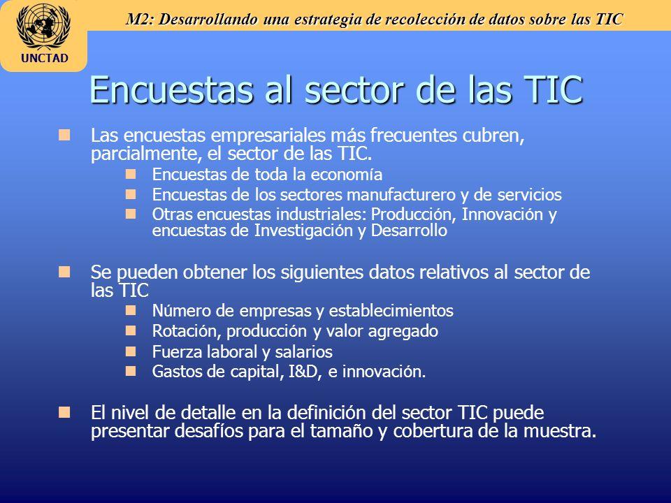 M2: Desarrollando una estrategia de recolección de datos sobre las TIC UNCTAD Encuestas al sector de las TIC Las encuestas empresariales m á s frecuen