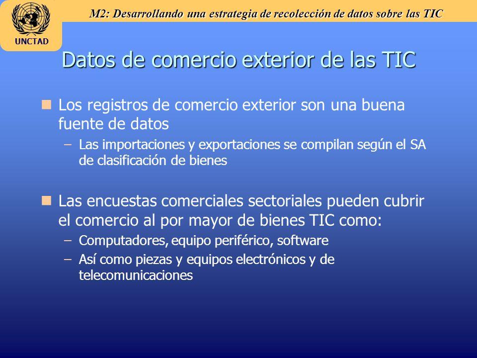 M2: Desarrollando una estrategia de recolección de datos sobre las TIC UNCTAD Datos de comercio exterior de las TIC n nLos registros de comercio exter
