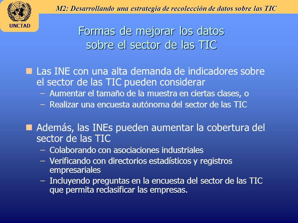 M2: Desarrollando una estrategia de recolección de datos sobre las TIC UNCTAD Formas de mejorar los datos sobre el sector de las TIC n nLas INE con un