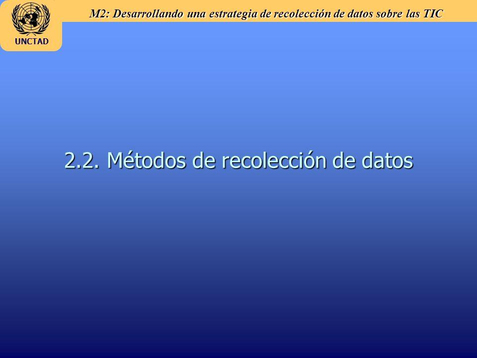 M2: Desarrollando una estrategia de recolección de datos sobre las TIC UNCTAD 2.2. Métodos de recolección de datos