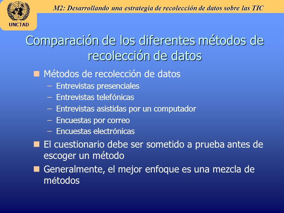 M2: Desarrollando una estrategia de recolección de datos sobre las TIC UNCTAD Comparación de los diferentes métodos de recolección de datos n nMétodos