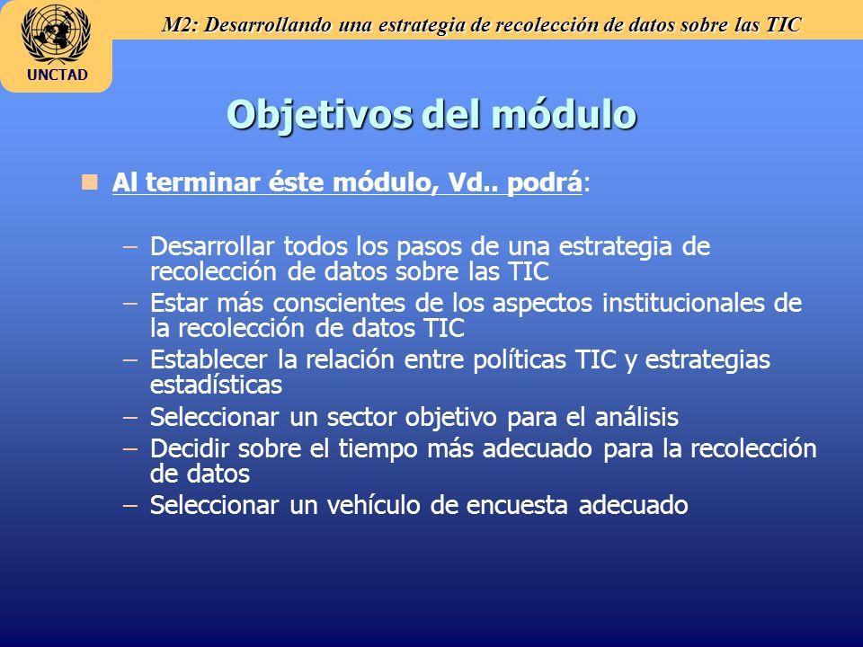 M2: Desarrollando una estrategia de recolección de datos sobre las TIC UNCTAD n nAl terminar éste módulo, Vd.. podrá: – –Desarrollar todos los pasos d
