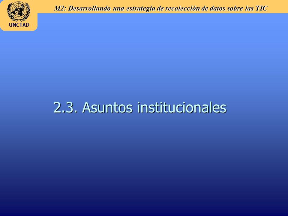 M2: Desarrollando una estrategia de recolección de datos sobre las TIC UNCTAD 2.3. Asuntos institucionales