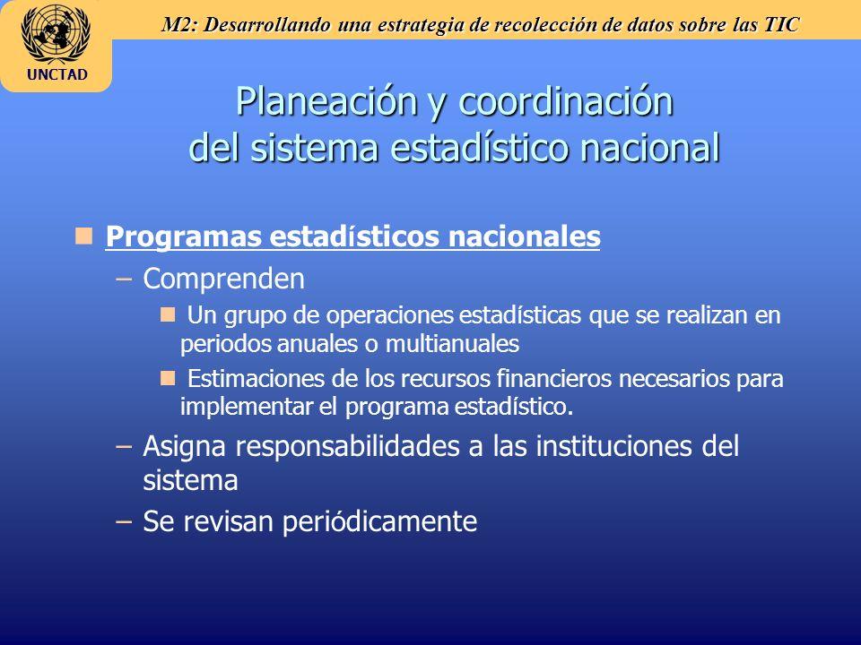 M2: Desarrollando una estrategia de recolección de datos sobre las TIC UNCTAD Planeación y coordinación del sistema estadístico nacional Programas est