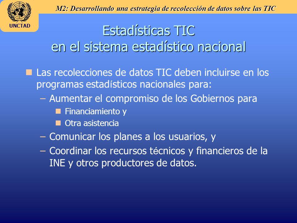 M2: Desarrollando una estrategia de recolección de datos sobre las TIC UNCTAD Estadísticas TIC en el sistema estadístico nacional Las recolecciones de