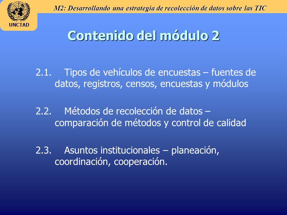 M2: Desarrollando una estrategia de recolección de datos sobre las TIC UNCTAD Contenido del módulo 2 2.1. Tipos de vehículos de encuestas – fuentes de