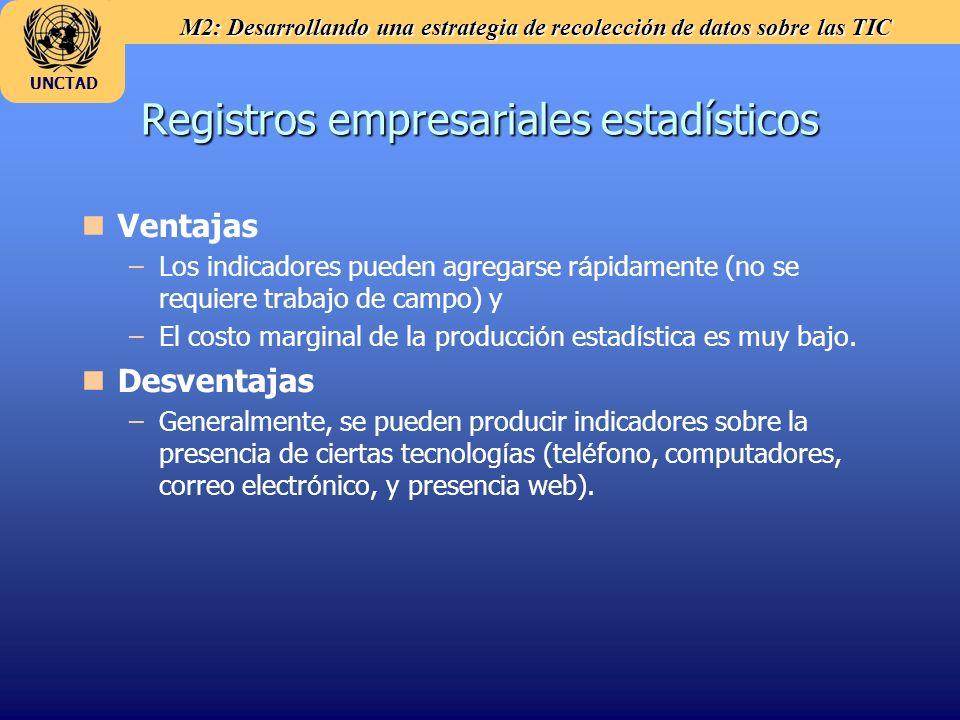 M2: Desarrollando una estrategia de recolección de datos sobre las TIC UNCTAD Registros empresariales estadísticos n nVentajas – –Los indicadores pued