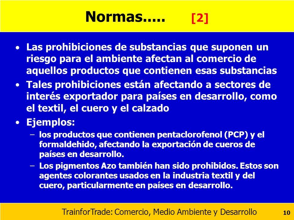 TrainforTrade: Comercio, Medio Ambiente y Desarrollo 10 Normas..... [2] Las prohibiciones de substancias que suponen un riesgo para el ambiente afecta
