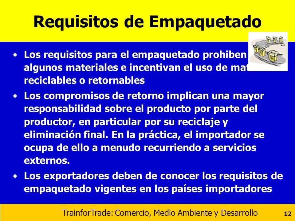 TrainforTrade: Comercio, Medio Ambiente y Desarrollo 12 Requisitos de Empaquetado Los requisitos para el empaquetado prohiben algunos materiales e inc