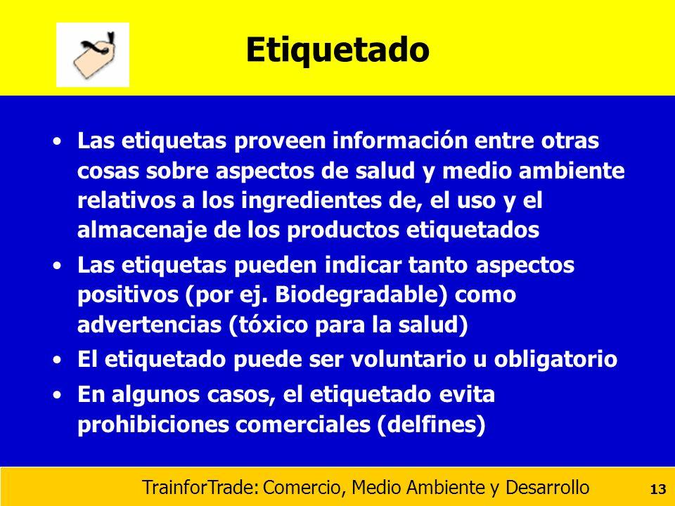 TrainforTrade: Comercio, Medio Ambiente y Desarrollo 13 Etiquetado Las etiquetas proveen información entre otras cosas sobre aspectos de salud y medio