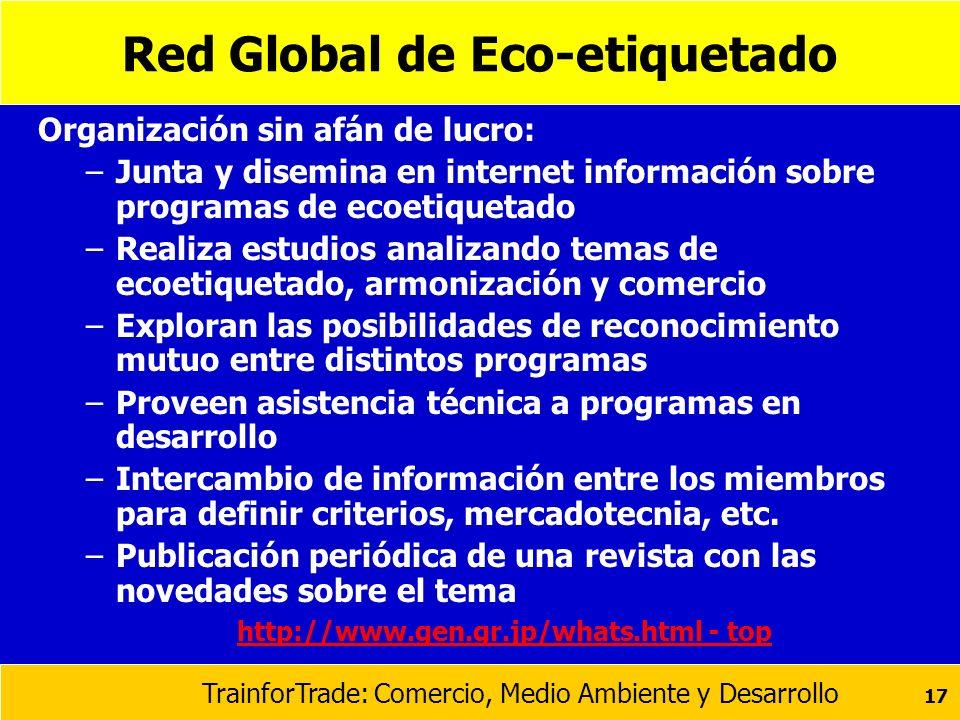 TrainforTrade: Comercio, Medio Ambiente y Desarrollo 17 Red Global de Eco-etiquetado Organización sin afán de lucro: –Junta y disemina en internet inf