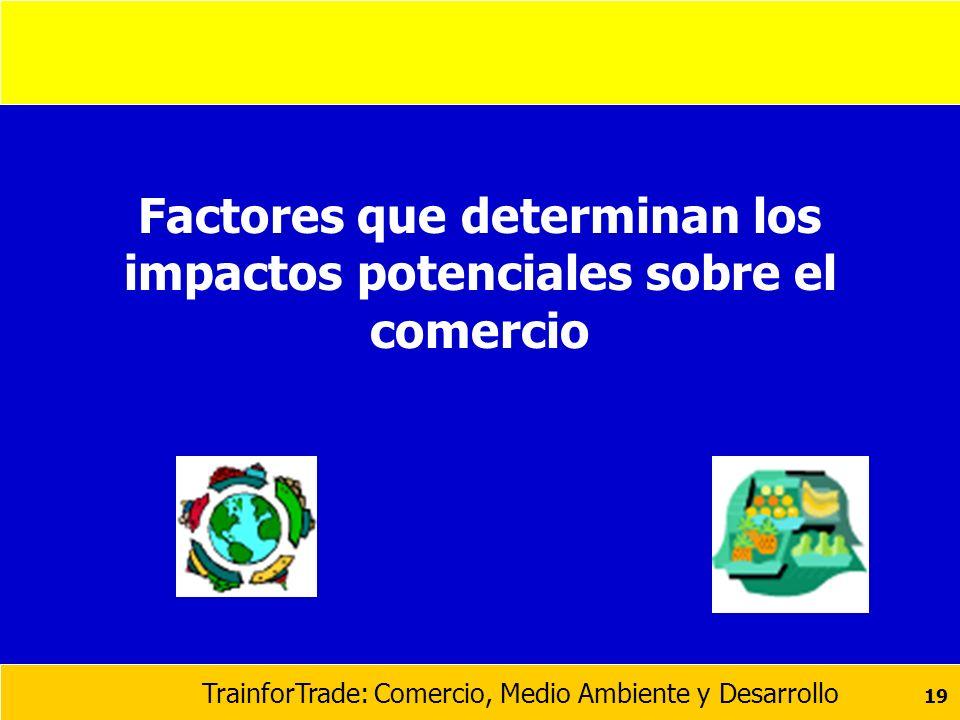 TrainforTrade: Comercio, Medio Ambiente y Desarrollo 19 Factores que determinan los impactos potenciales sobre el comercio