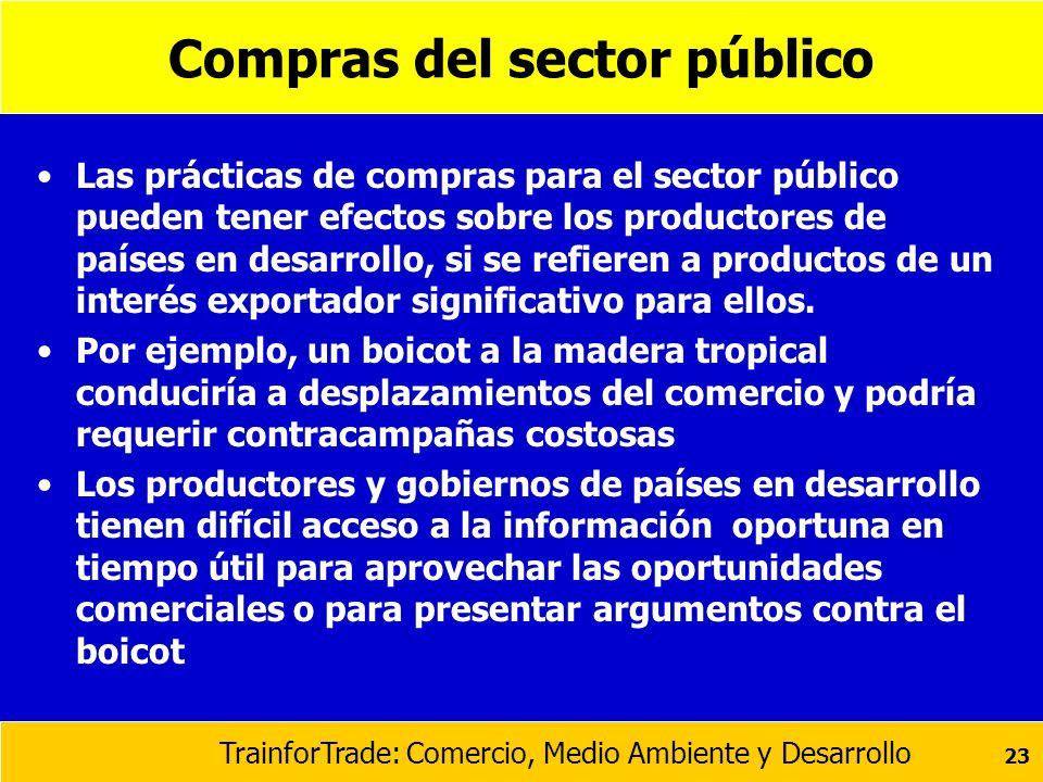 TrainforTrade: Comercio, Medio Ambiente y Desarrollo 23 Compras del sector público Las prácticas de compras para el sector público pueden tener efecto