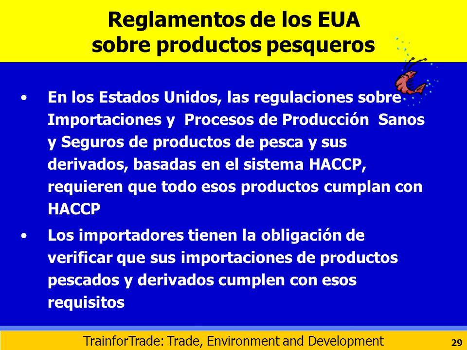 En los Estados Unidos, las regulaciones sobre Importaciones y Procesos de Producción Sanos y Seguros de productos de pesca y sus derivados, basadas en