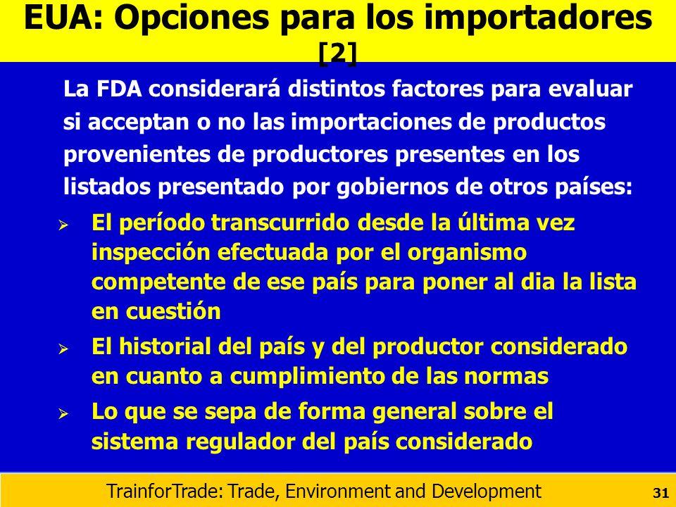 La FDA considerará distintos factores para evaluar si acceptan o no las importaciones de productos provenientes de productores presentes en los listad