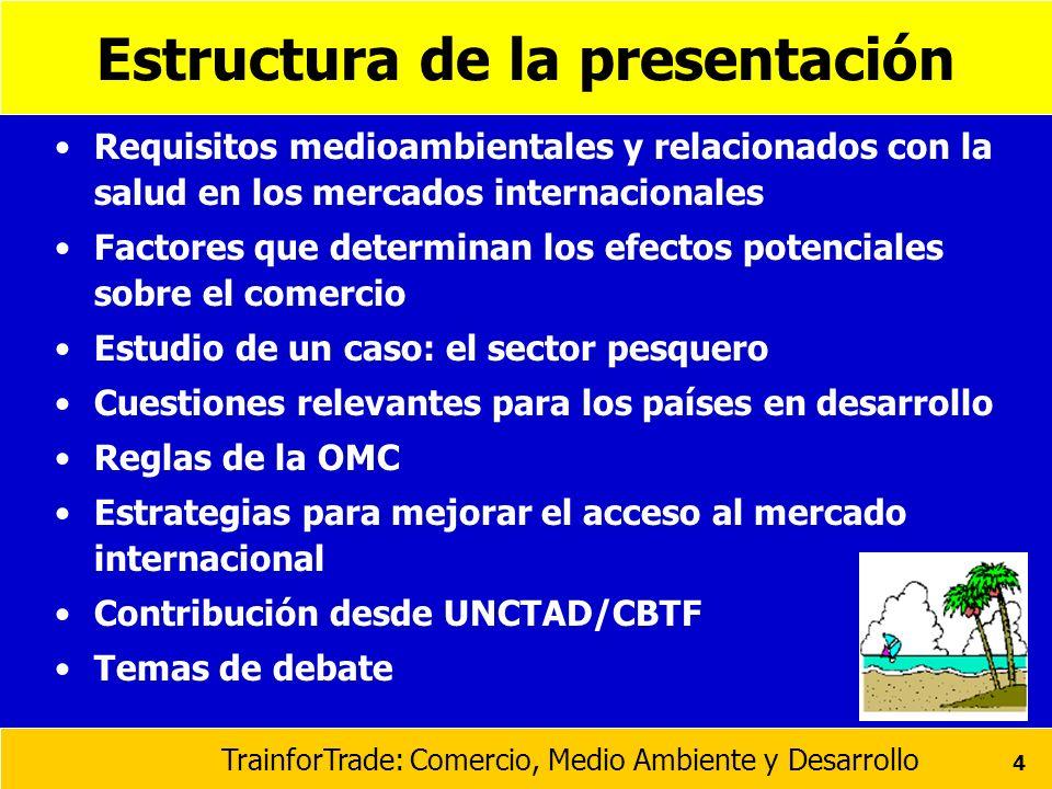 TrainforTrade: Comercio, Medio Ambiente y Desarrollo 65 A nivel multilateral Transparencia y proceso participatorio en la preparación de normas Procesos internacionales de elaboración de normas Asistencia técnica Agencias multilaterales de ayuda
