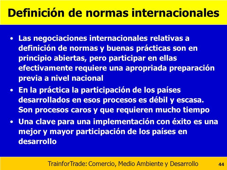 TrainforTrade: Comercio, Medio Ambiente y Desarrollo 44 Definición de normas internacionales Las negociaciones internacionales relativas a definición