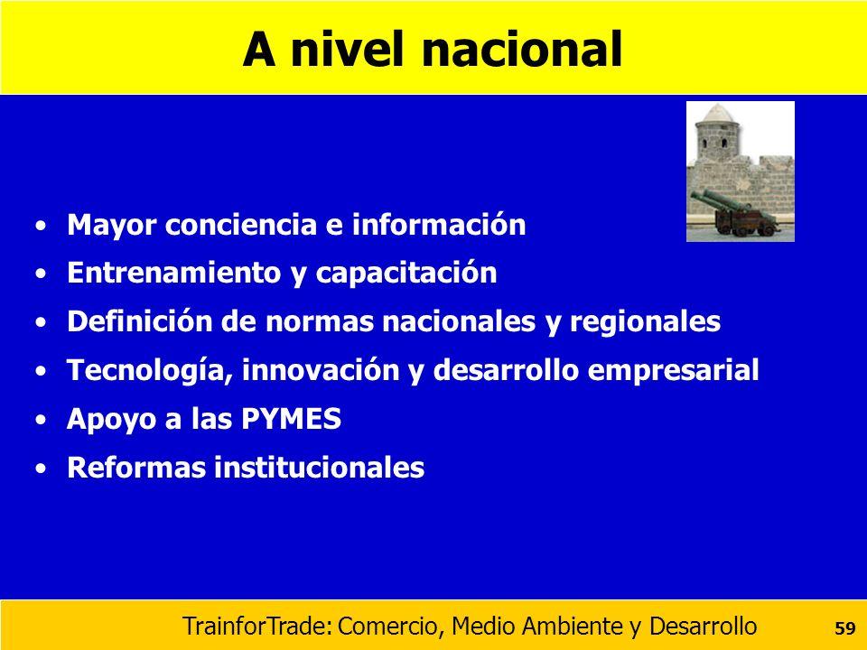 TrainforTrade: Comercio, Medio Ambiente y Desarrollo 59 A nivel nacional Mayor conciencia e información Entrenamiento y capacitación Definición de nor