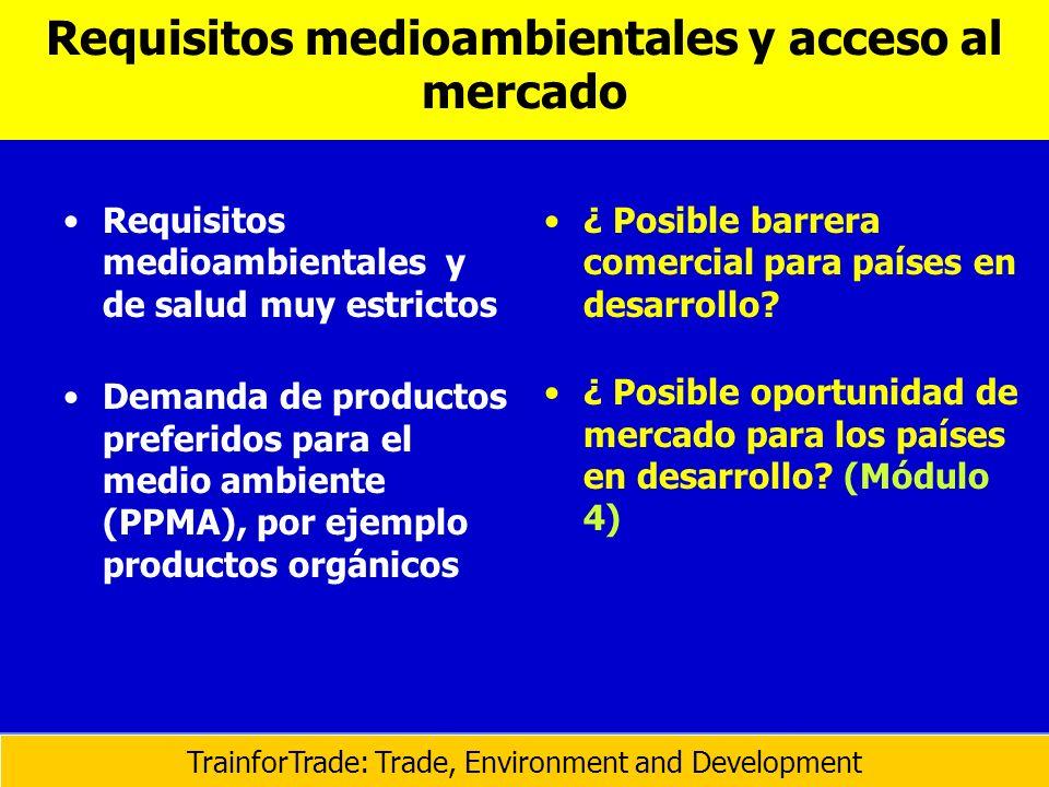 Requisitos medioambientales y acceso al mercado Requisitos medioambientales y de salud muy estrictos Demanda de productos preferidos para el medio amb