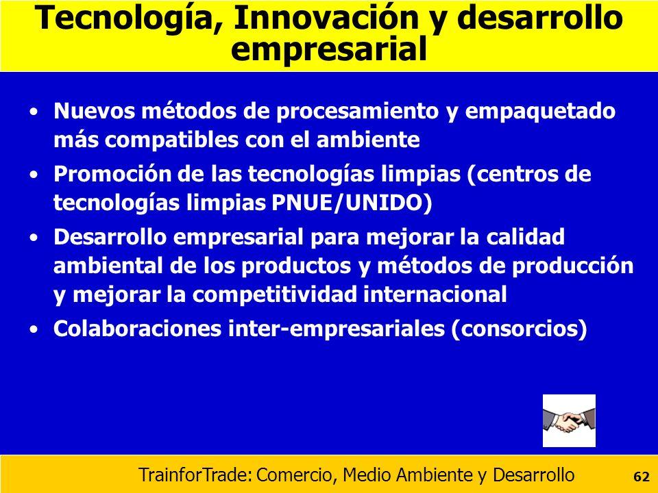 TrainforTrade: Comercio, Medio Ambiente y Desarrollo 62 Tecnología, Innovación y desarrollo empresarial Nuevos métodos de procesamiento y empaquetado