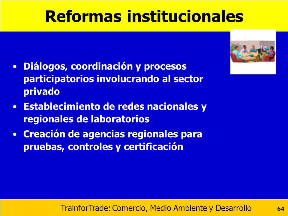 TrainforTrade: Comercio, Medio Ambiente y Desarrollo 64 Reformas institucionales Diálogos, coordinación y procesos participatorios involucrando al sec