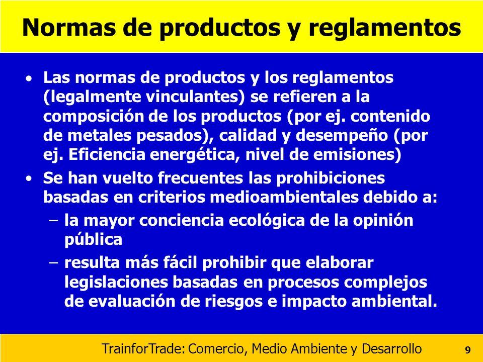 TrainforTrade: Comercio, Medio Ambiente y Desarrollo 9 Normas de productos y reglamentos Las normas de productos y los reglamentos (legalmente vincula