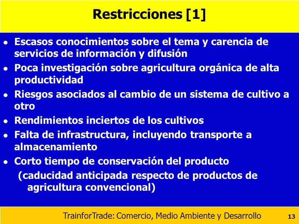 TrainforTrade: Comercio, Medio Ambiente y Desarrollo 13 Restricciones [1] l Escasos conocimientos sobre el tema y carencia de servicios de información