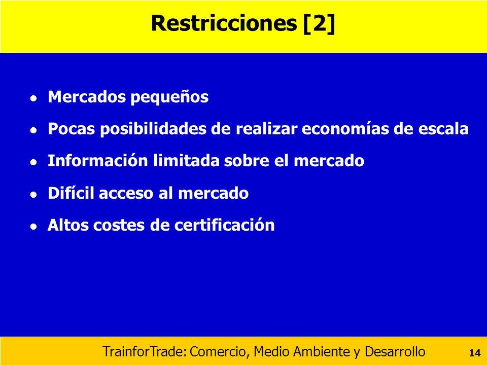 TrainforTrade: Comercio, Medio Ambiente y Desarrollo 14 Restricciones [2] l Mercados pequeños l Pocas posibilidades de realizar economías de escala l